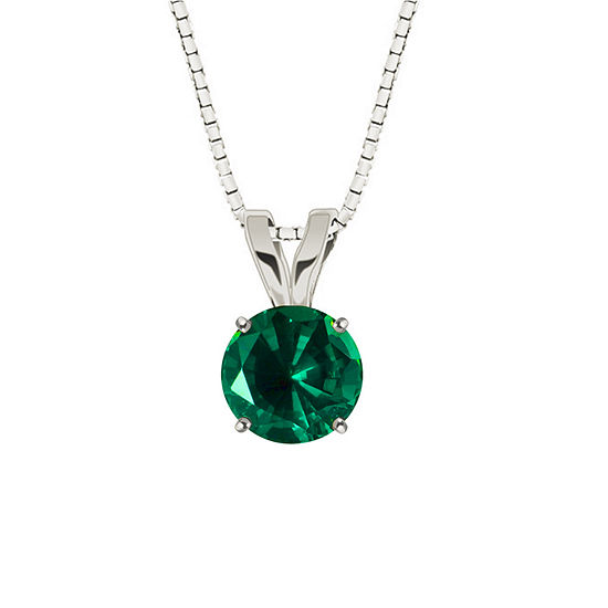 Lab-Created Round Emerald 10K White Gold Pendant Necklace