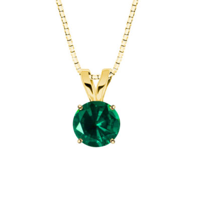 Lab-Created Round Emerald 10K Yellow Gold Pendant Necklace