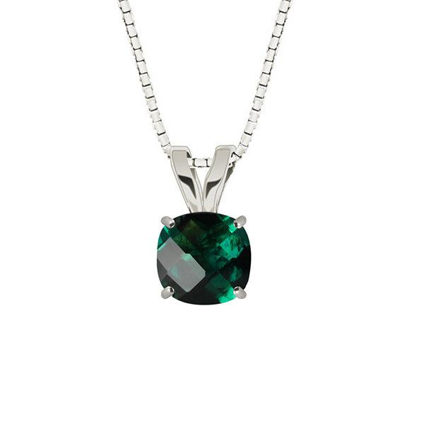 Fine Jewelry Lab-Created Checkerboard Cut Emerald Sterling Silver Pendant Necklace wqHse9Y17