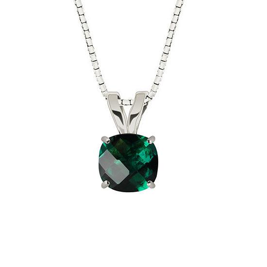 Lab-Created Checkerboard Cut Emerald 10K White Gold Pendant Necklace