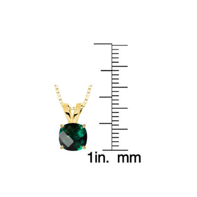 Lab-Created Checkerboard Emerald 10K Yellow Gold Pendant Necklace