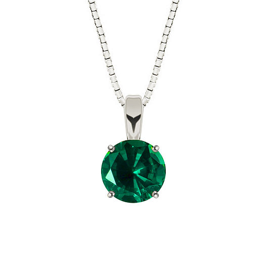 Lab-Created Round Emerald Sterling Silver Pendant Necklace