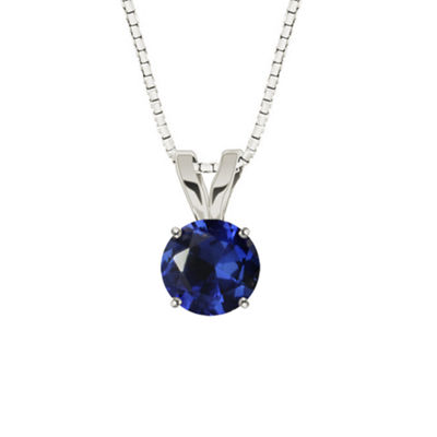 Lab-Created Round Blue Sapphire 10K White Gold Pendant Necklace