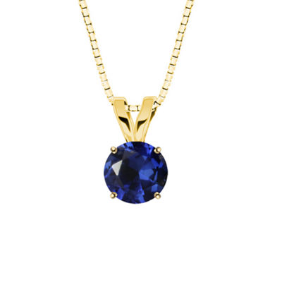 Lab-Created Round Blue Sapphire 10K Yellow Gold Pendant Necklace