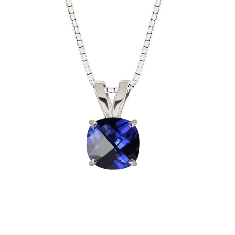 Lab-Created Checkerboard Cut Blue Sapphire Sterling Silver Pendant Necklace
