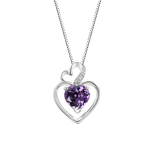 Genuine Amethyst Sterling Silver Double Heart Pendant Necklace