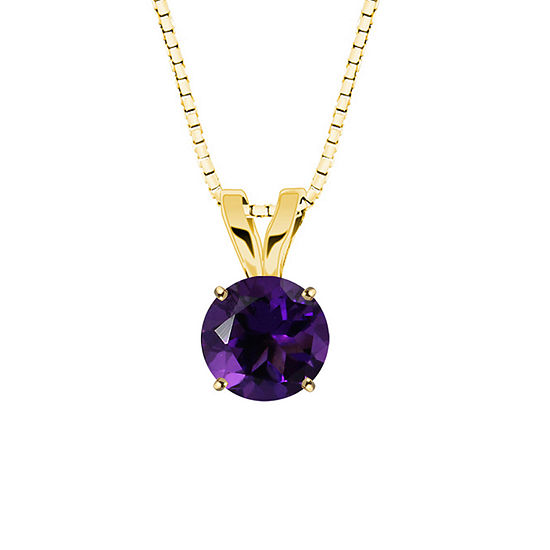 Genuine Amethyst 10k Yellow Gold Pendant Necklace
