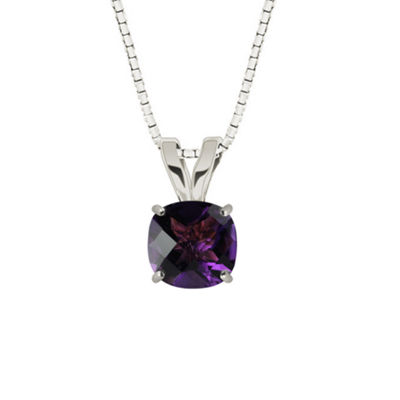 Genuine Amethyst Sterling Silver Pendant Necklace