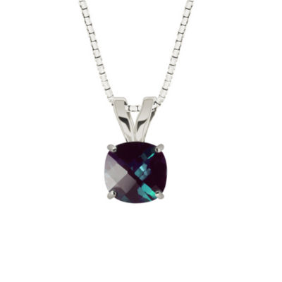 Lab Created Checkerboard Cushion Alexandrite 10K White Gold Pendant