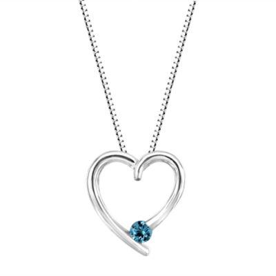 Genuine Swiss Blue Topaz Sterling Silver Heart Pendant Necklace