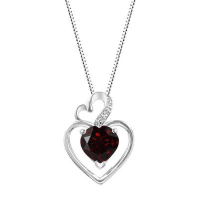 Genuine Garnet Sterling Silver Double Heart Pendant Necklace