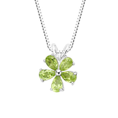 Genuine Peridot Sterling Silver Flower Pendant Necklace