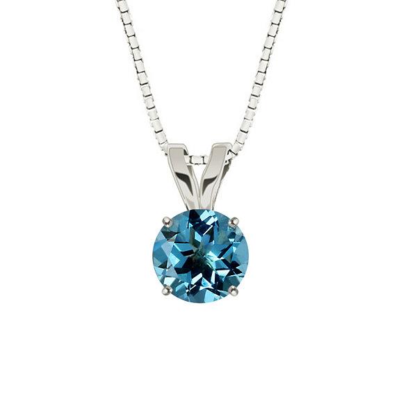 Fine Jewelry Genuine Swiss Blue Topaz 10K White Gold Pendant Necklace H5VQbhX