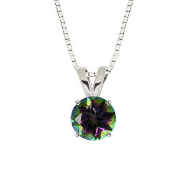Round Mystic Topaz 10K White Gold Pendant Necklace