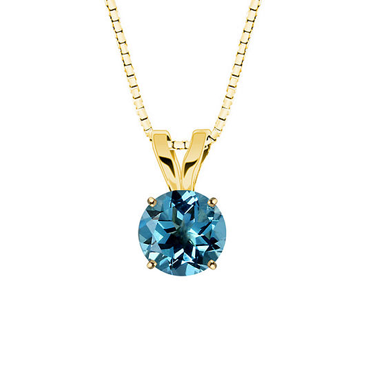Genuine Swiss Blue Topaz 10K Yellow Gold Pendant Necklace