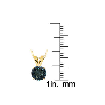 Round London Blue Topaz 10K Yellow Gold Pendant Necklace