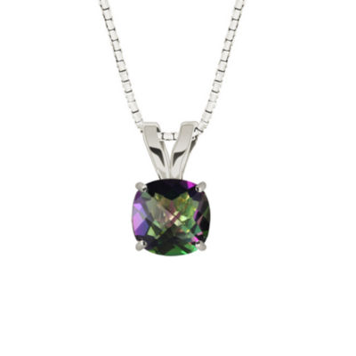 Genuine Mystic Topaz Sterling Silver Pendant Necklace