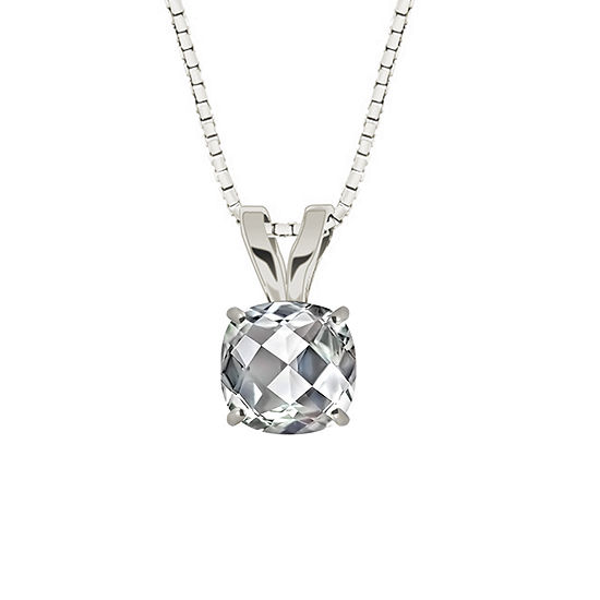 Genuine White Topaz Sterling Silver Pendant Necklace