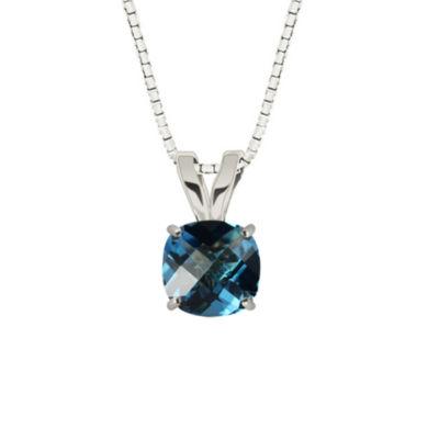 Genuine Swiss Blue Topaz 10K White Gold Pendant Necklace