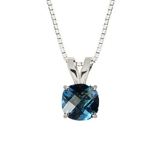 Genuine Swiss Blue Topaz 10K White Gold Pendant Necklace