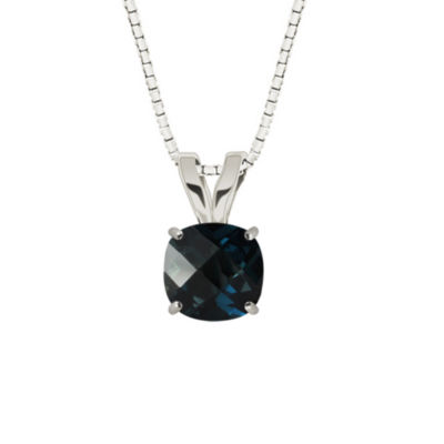 London Blue Topaz 10K White Gold Pendant Necklace