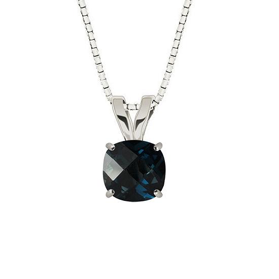 London Blue Topaz 10K White Gold Pendant Necklace