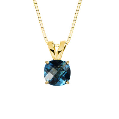 Genuine Swiss Blue Topaz 10K Yellow Gold Pendant Necklace