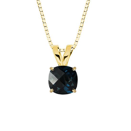 London Blue Topaz 10K Yellow Gold Pendant Necklace