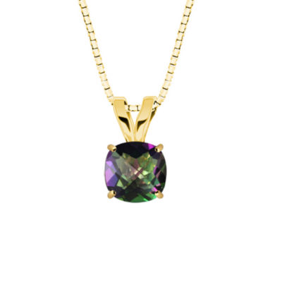 Genuine Mystic Topaz 10K Yellow Gold Pendant Necklace