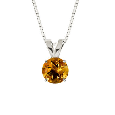 Citrine 10K White Gold Pendant Necklace