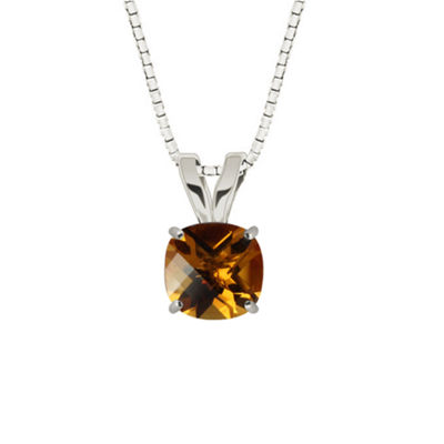 Checkerboard Cushion Citrine Sterling Silver Pendant