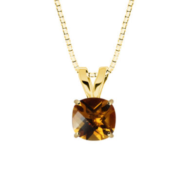 Citrine 10K Yellow Gold Pendant Necklace