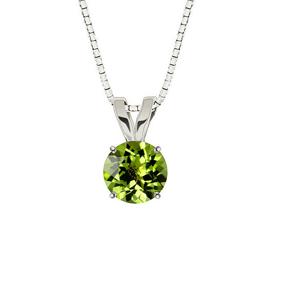 Genuine Round Peridot 10K White Gold Pendant Necklace