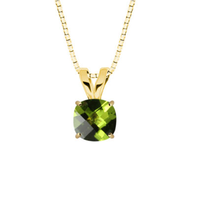 Genuine Peridot 10K Yellow Gold Pendant Necklace