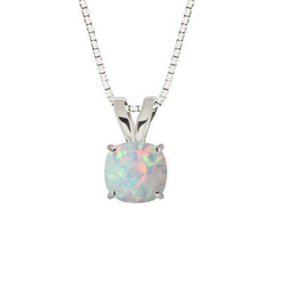 Lab-Created Opal 10K White Gold Pendant Necklace