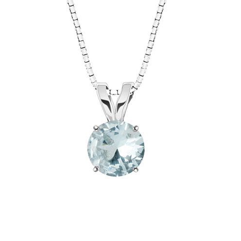 Genuine Aquamarine 10K White Gold Pendant Necklace