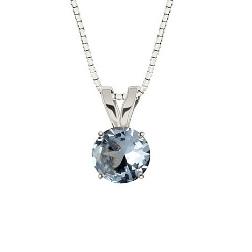 Lab-Created Round Aquamarine 10K White Gold Pendant Necklace