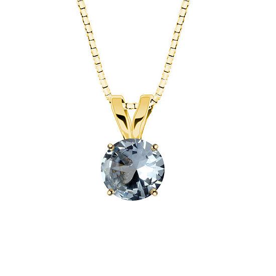 Simulated Aquamarine 10K Yellow Gold Pendant Necklace