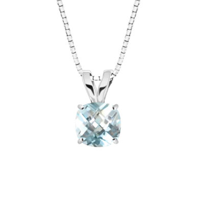 Simulated Aquamarine 10K White Gold Pendant Necklace