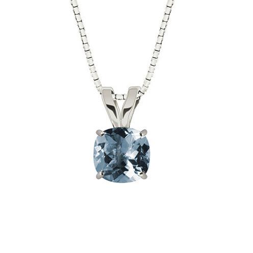 Lab-Created  Aquamarine 10K White Gold Pendant Necklace