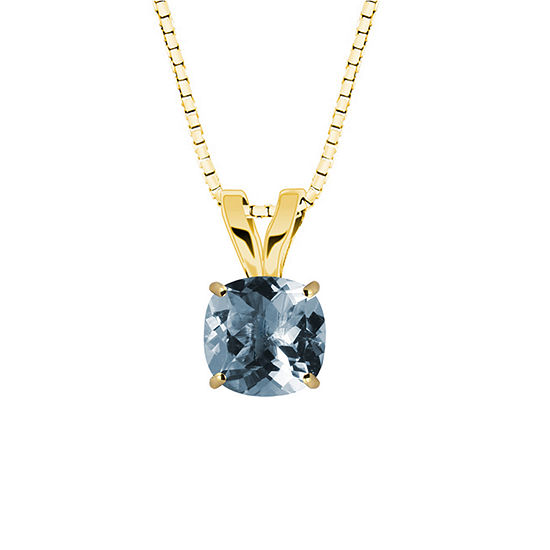 Simulated Aquamarine 10K Yellow Gold Pendant Necklace