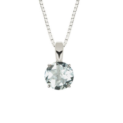 Simulated Aquamarine Sterling Silver Pendant Necklace