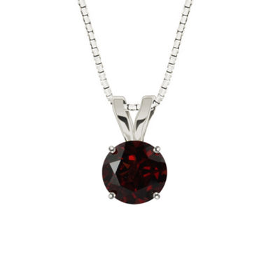 Genuine Round Garnet 10K White Gold Pendant Necklace