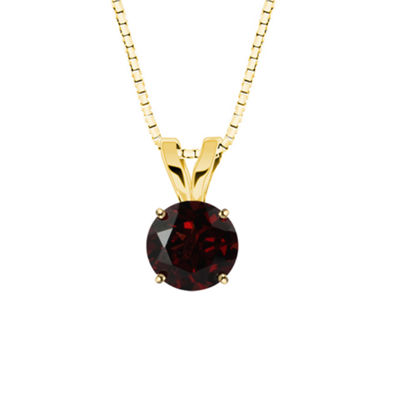 Genuine Garnet 10K Yellow Gold Pendant Necklace