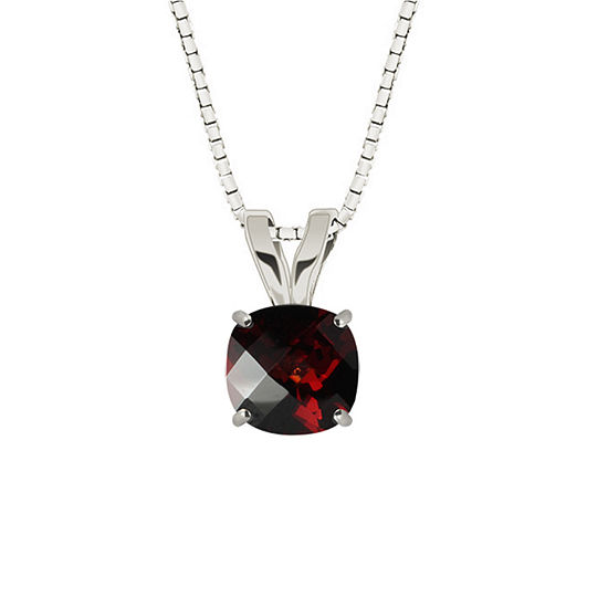 Genuine Garnet 10K White Gold Pendant Necklace