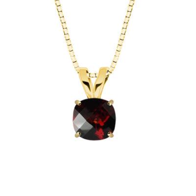 Genuine Garnet 10K Yellow Gold Pendant Necklace