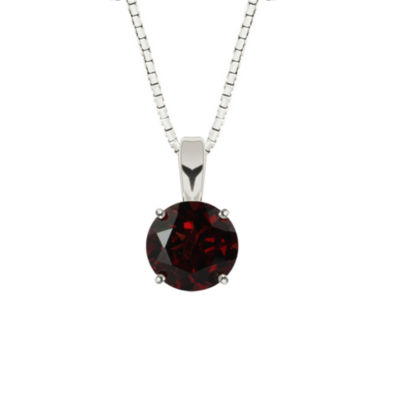 Genuine Garnet Sterling Silver Pendant Necklace