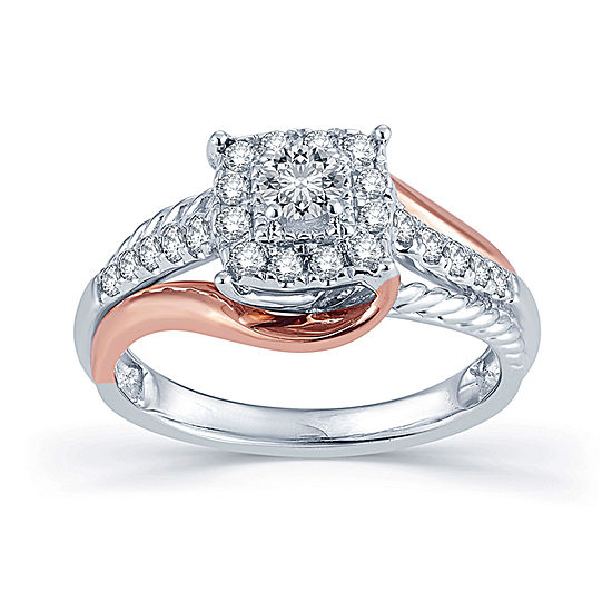1 2 Ct Tw Diamond 14k Two Tone Gold Engagement Ring