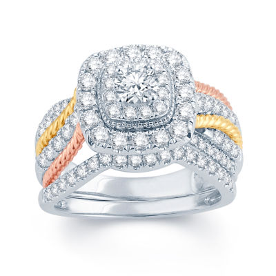 1 1/2 CT. T.W. Diamond 14K White, Yellow & Rose Gold Engagement Ring