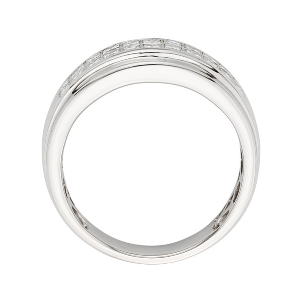 Mens 1 CT. T.W. Certified Diamond 14K White Gold Wedding Band